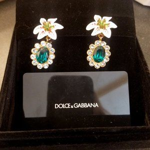 New! Dolce & Gabbana Lily Crystal Clip Earrings